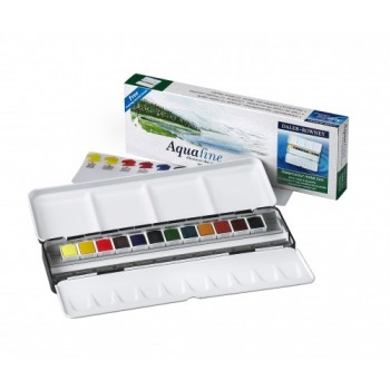 Daler Rowney Aquafine Watercolour 12 Half Pan Metal Tin